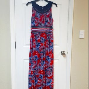 Roz & Ali Red White and Blue Maxi Dress